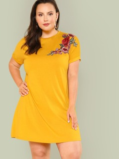 Plus Embroidered Rose Patch Tee Dress