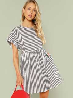 Mixed Stripe Slit Back Smock Dress