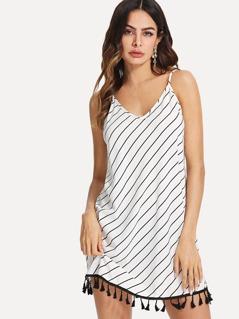 Tassel Trim Striped Cami Dress