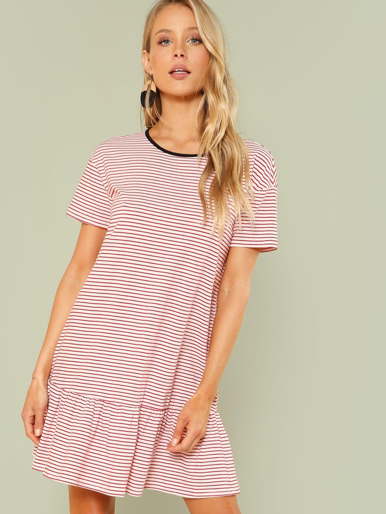 Striped Drop Waist Ringer Dress цена 2017