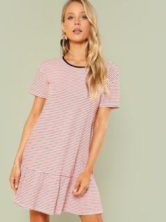 Striped Drop Waist Ringer Dress