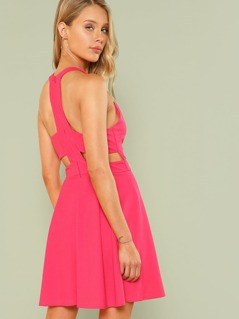 Neon Pink Cut Out Y-Back Box Pleated Dress