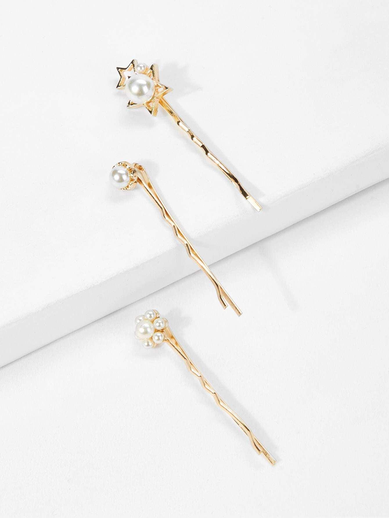 Faux Pearl Decorated Hair Tie 3pcs faux pearl pentagram hair stick