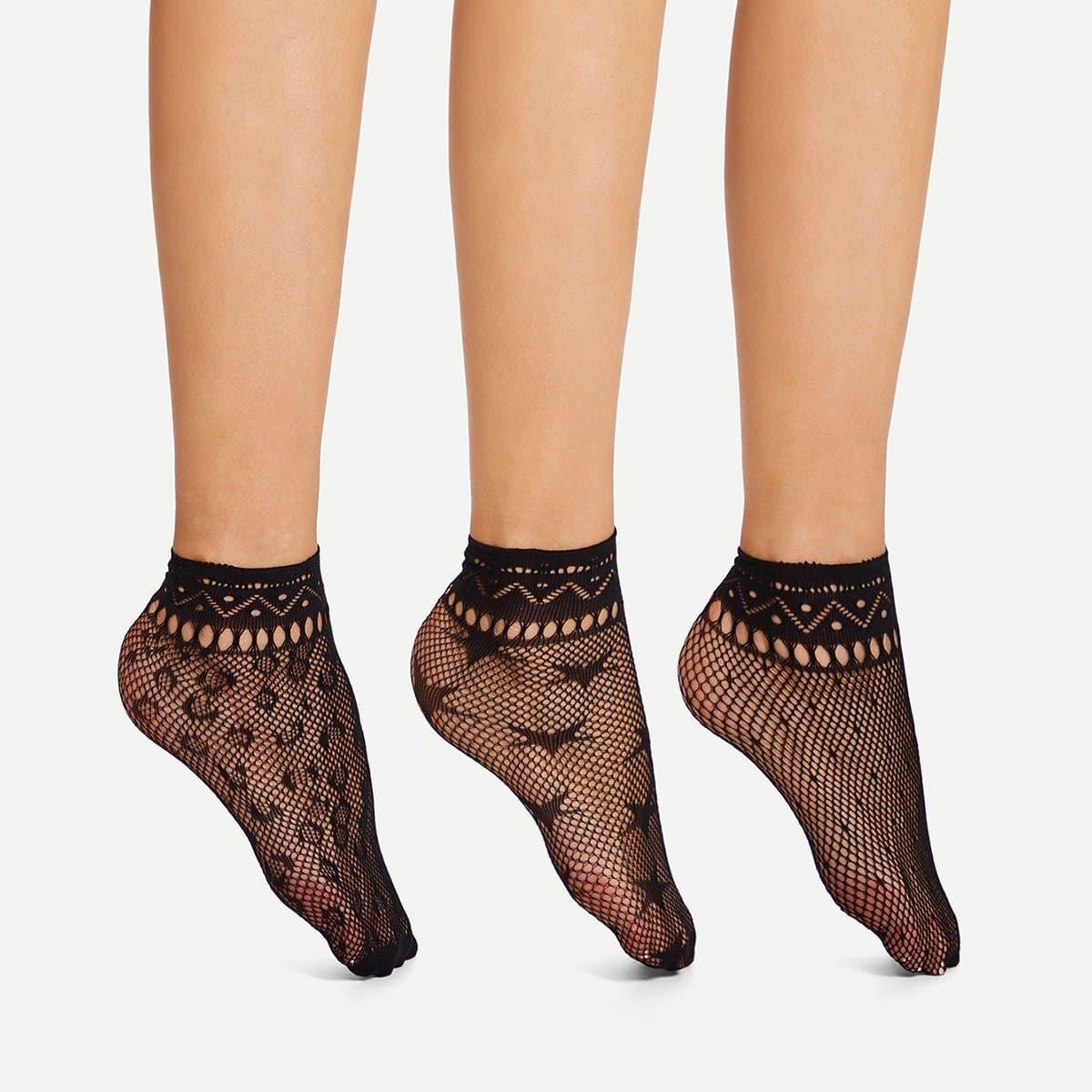 Uitgehold net sokken 3pairs