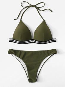 Striped Hem Bikini Set