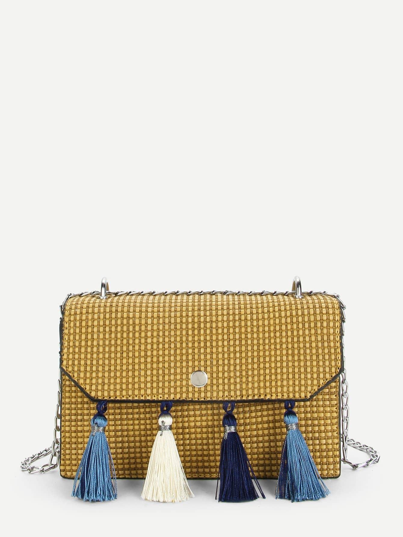 Tassel Detail Flap Chain Bag tassel decorated velvet chain flap bag