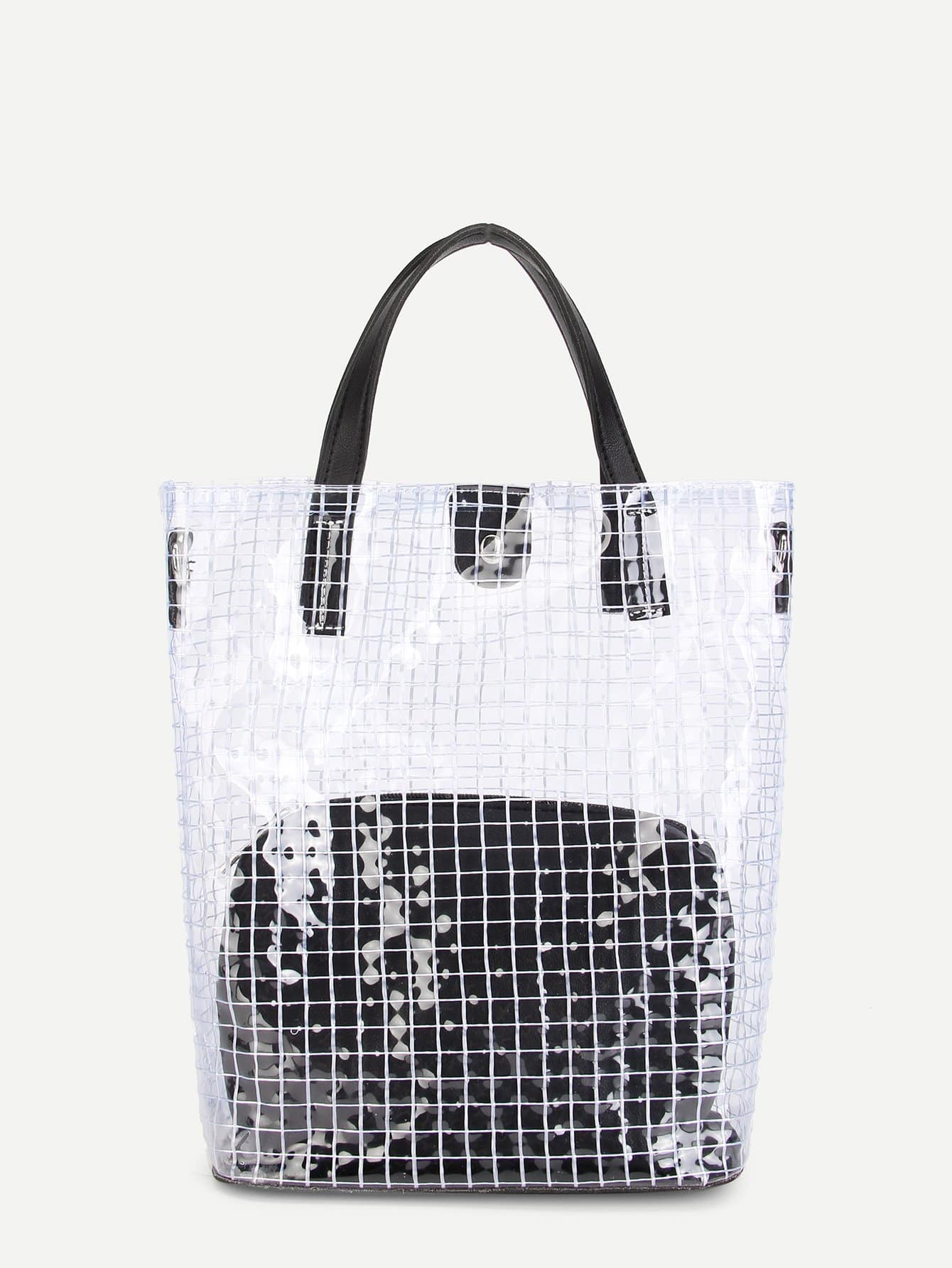 Clear Design Tote Bag With Inner Pouch clear design chain bag with inner pouch