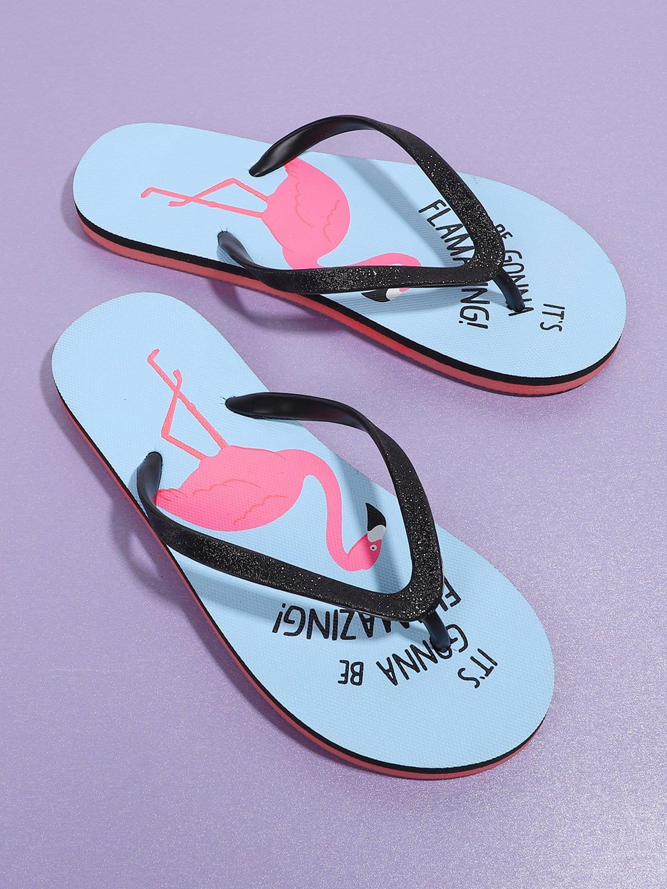 Flamingo Print Flip Flops tribal flower print flip flops