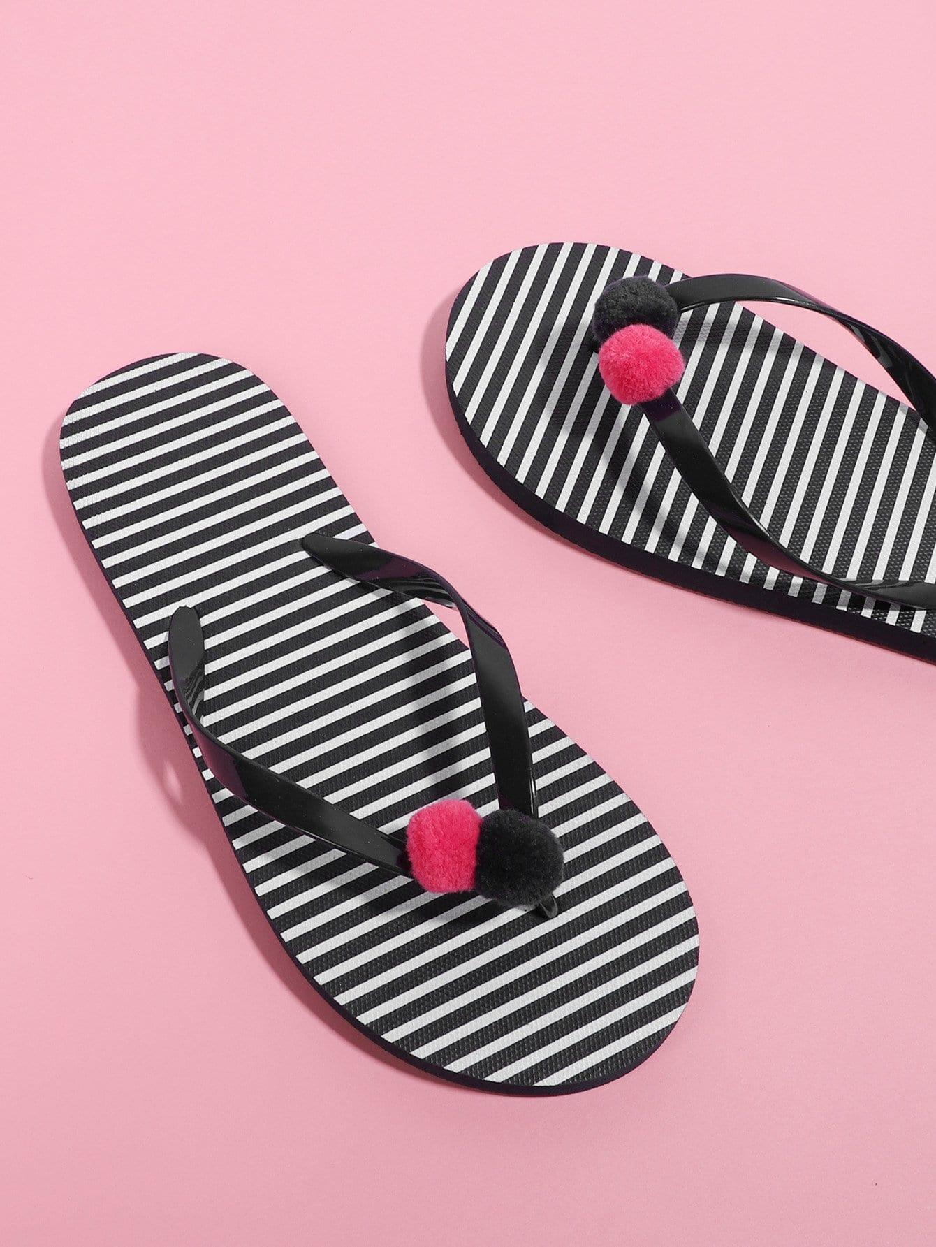 Pom Pom Detail Striped Flip Flops pink bow detail flip flops