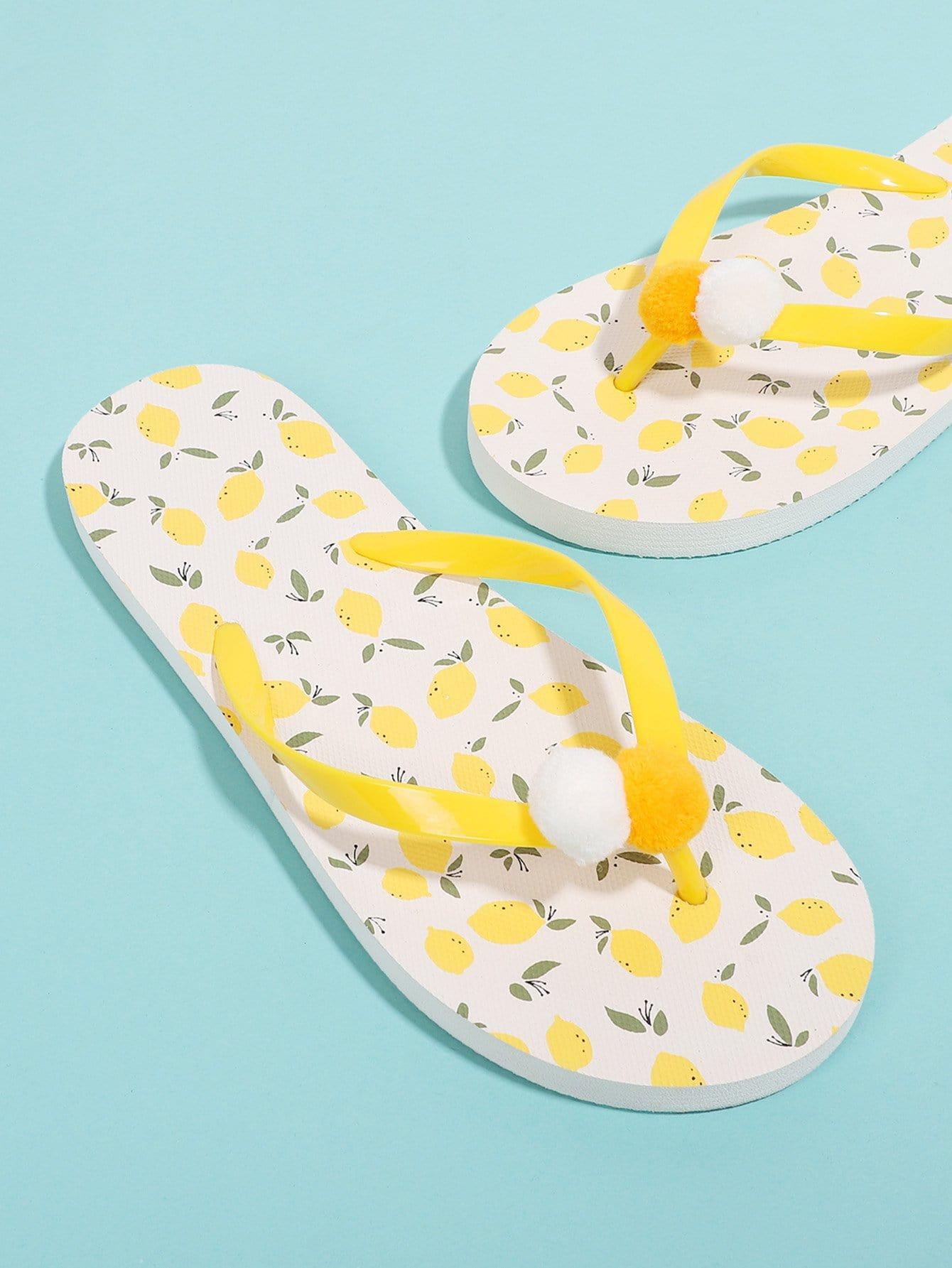 Pom Pom Detail Lemon Flip Flops pink bow detail flip flops