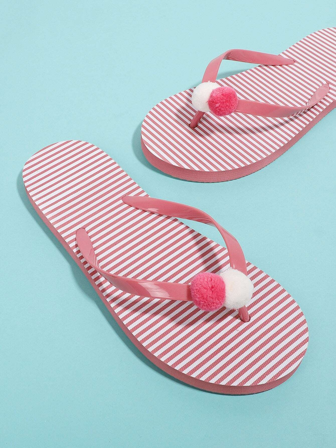 Pom Pom Detail Striped Flip Flops toe post striped flip flops