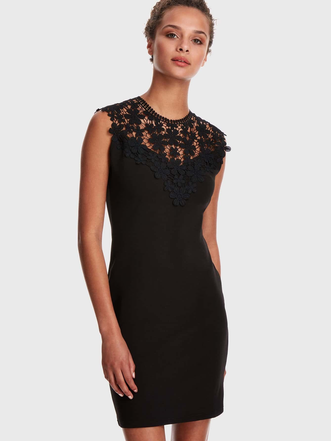 Guipure Lace Applique Yoke Keyhole Back Dress