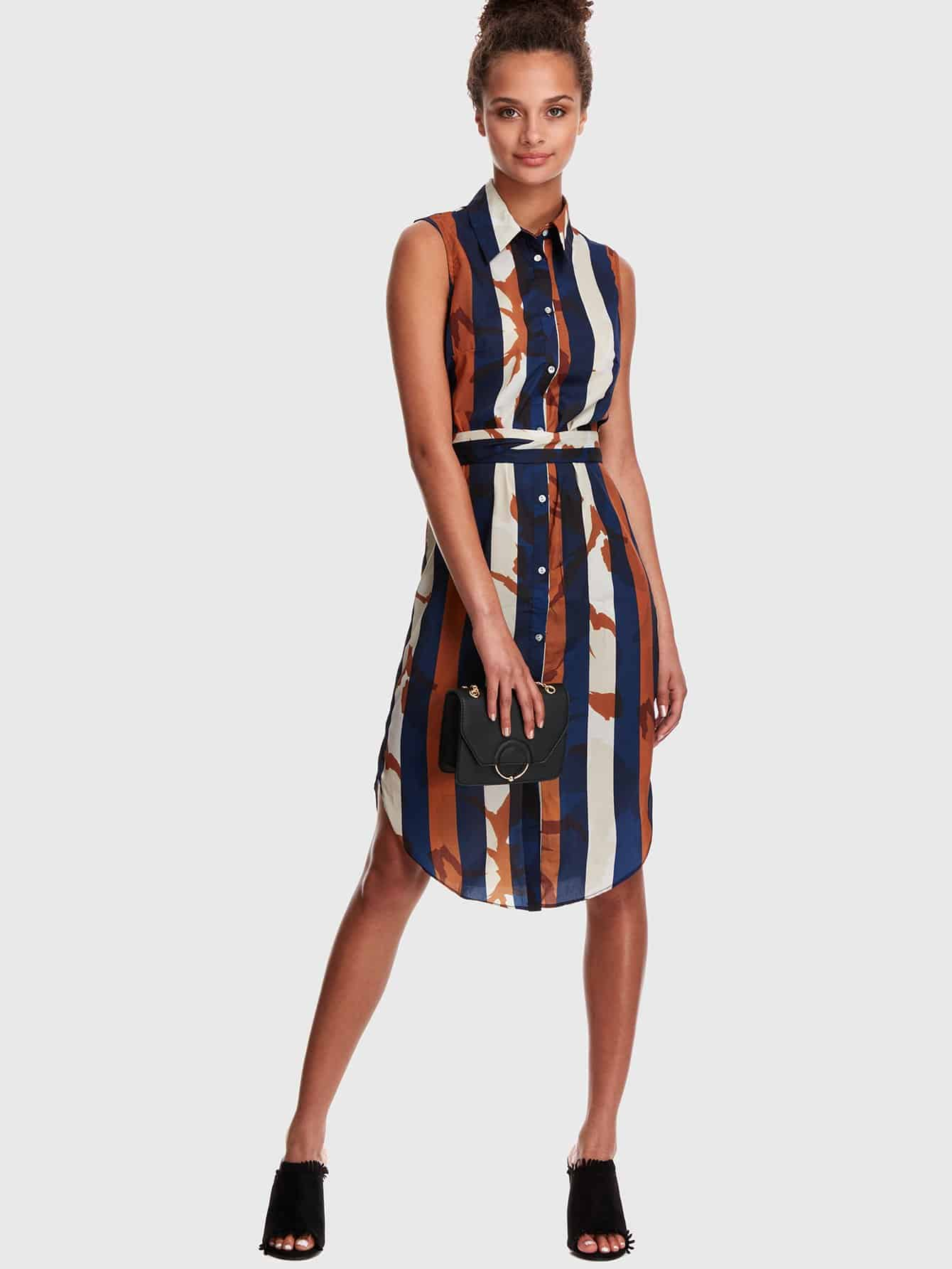 Купить Полосатое изогнутое платье для рубашки с поясничным поясом, Ruby Muldoon, SheIn