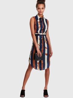 Striped Curved Hem Shirt Dress with Tie Belt