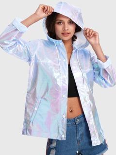 Iridescent Buttoned Hoodie Jacket