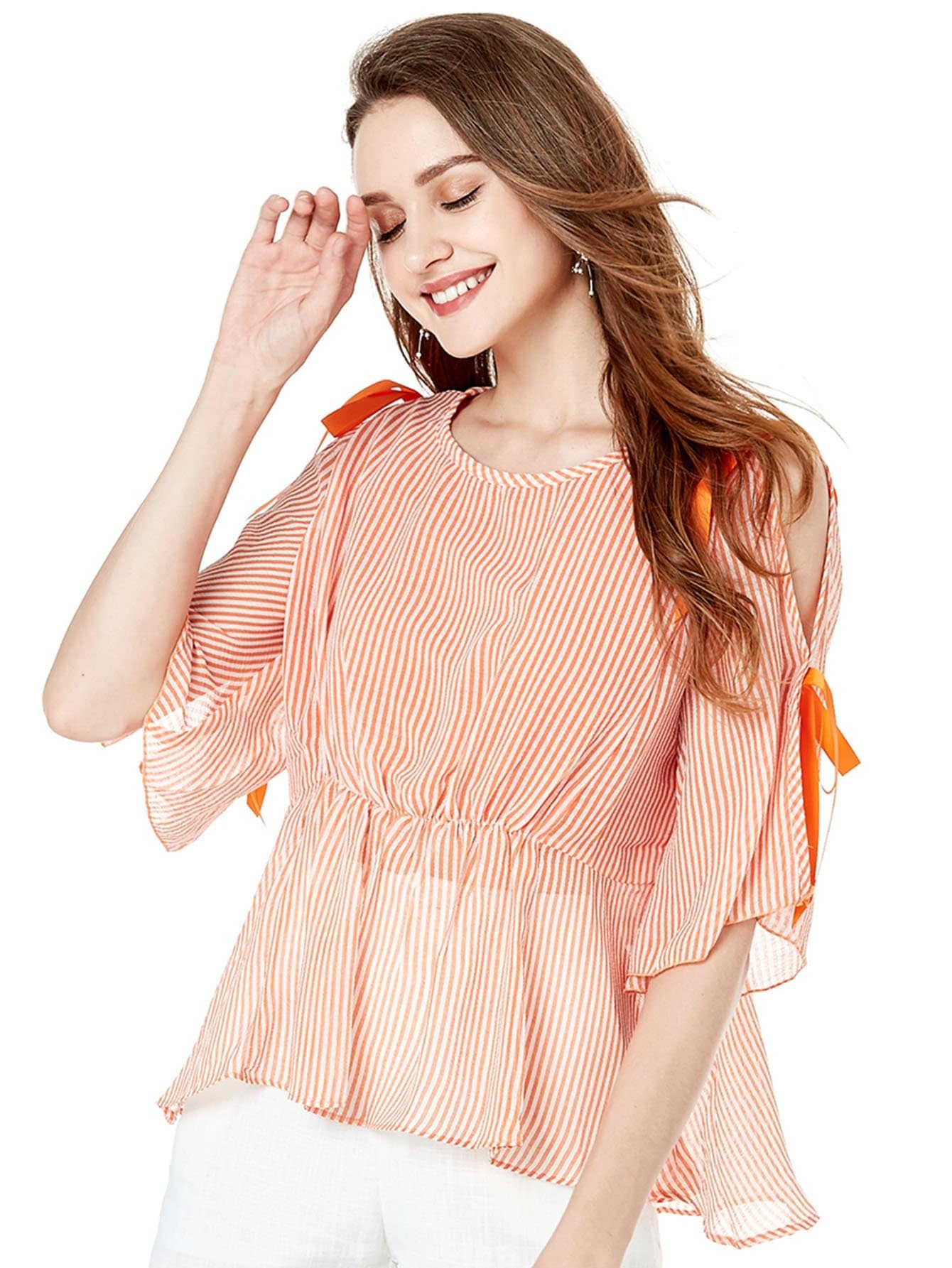 Split Sleeve Self Tie Stripe Blouse split sleeve self tie bodysuit