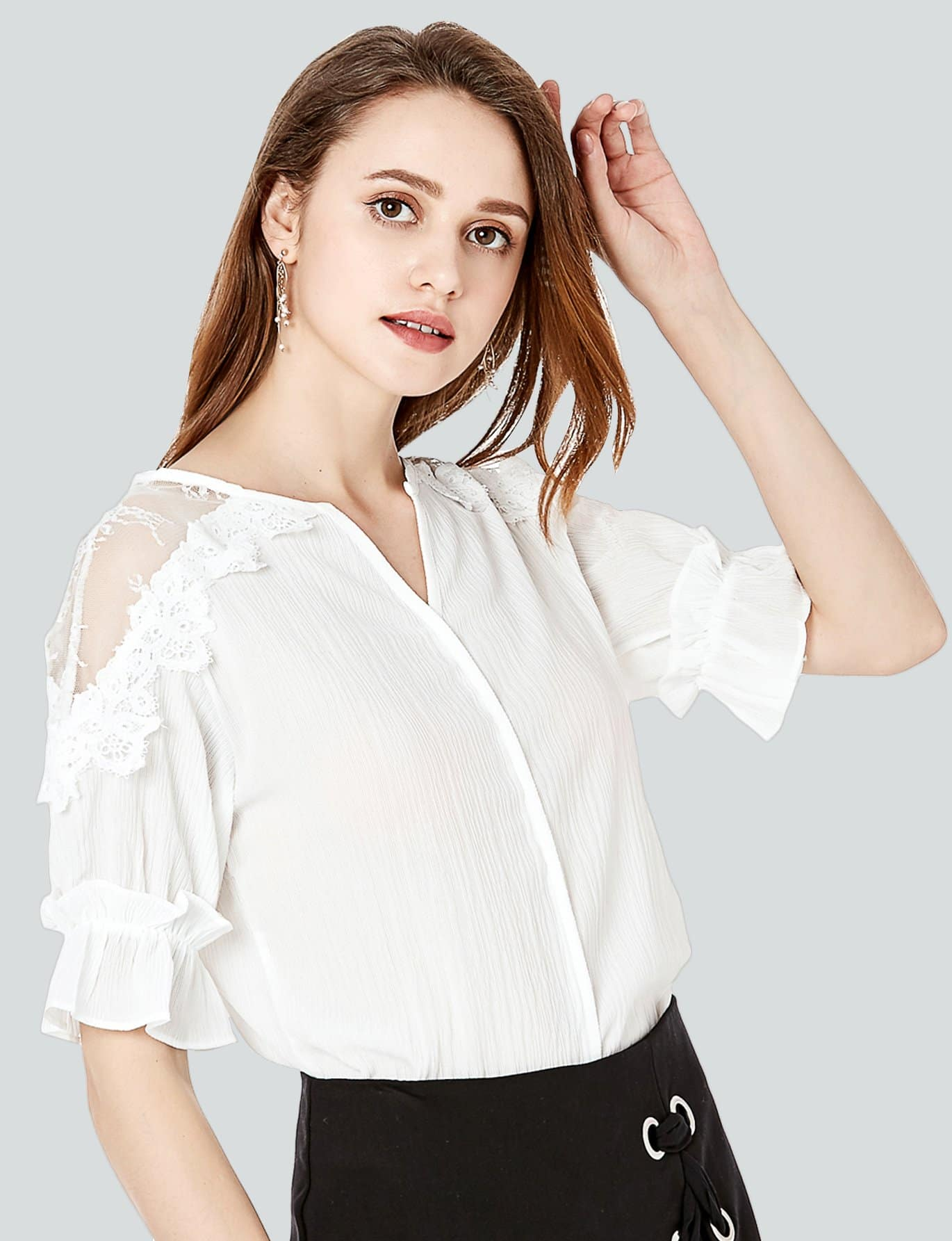 Lace Contrast Ruffle Sleeve Blouse lace up ruffle sleeve blouse