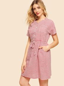 Drop Shoulder Drawstring Waist Stripe Dress