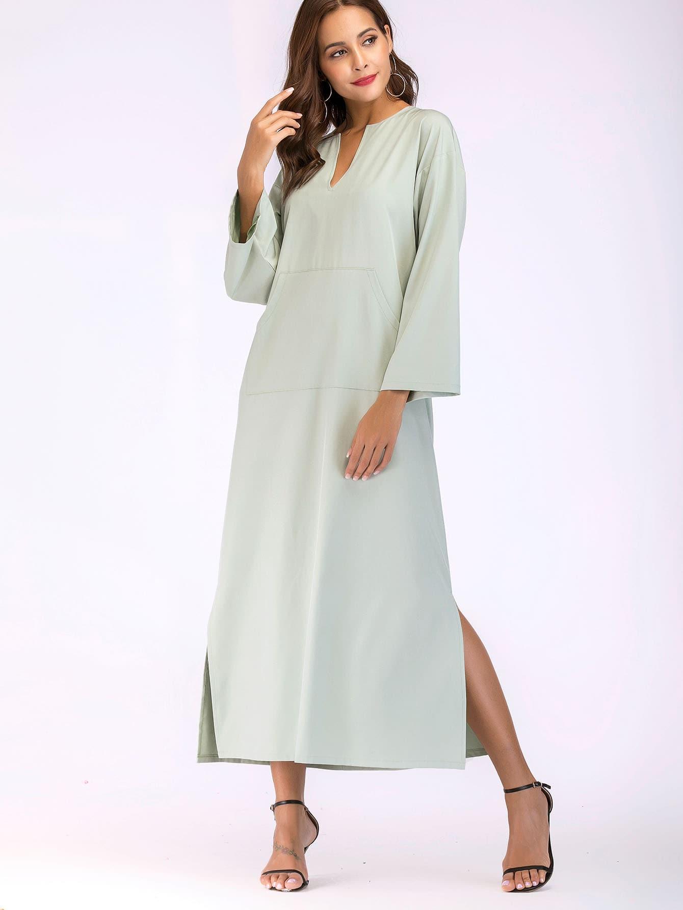 Kangaroo Pocket Split Side Dress kangaroo pocket split side dress