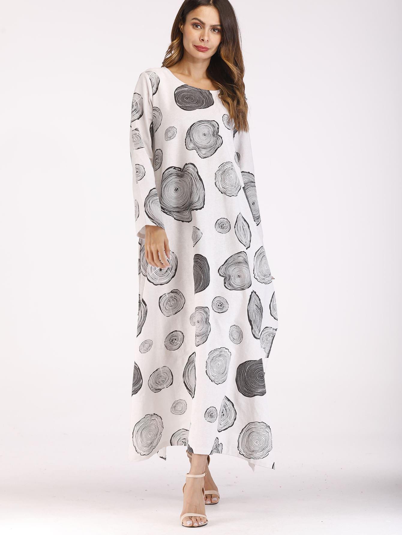 Split Side Circle Print Longline Dress split side longline blazer