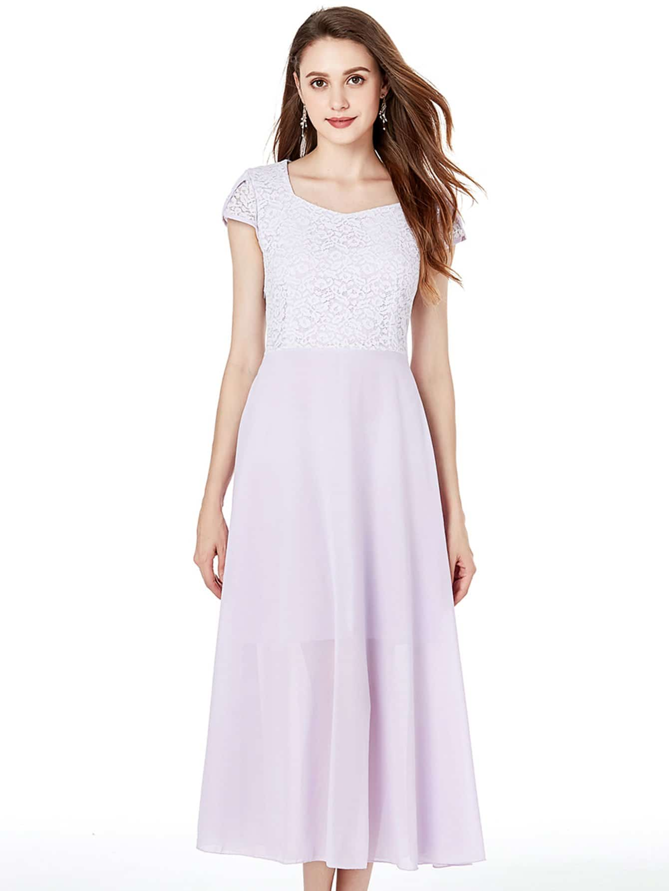 Купить Контрастное шифоновое кружевное длинное платье, null, SheIn