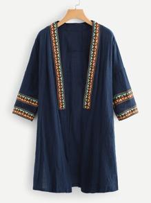 Geometrical Embroidered Kimono