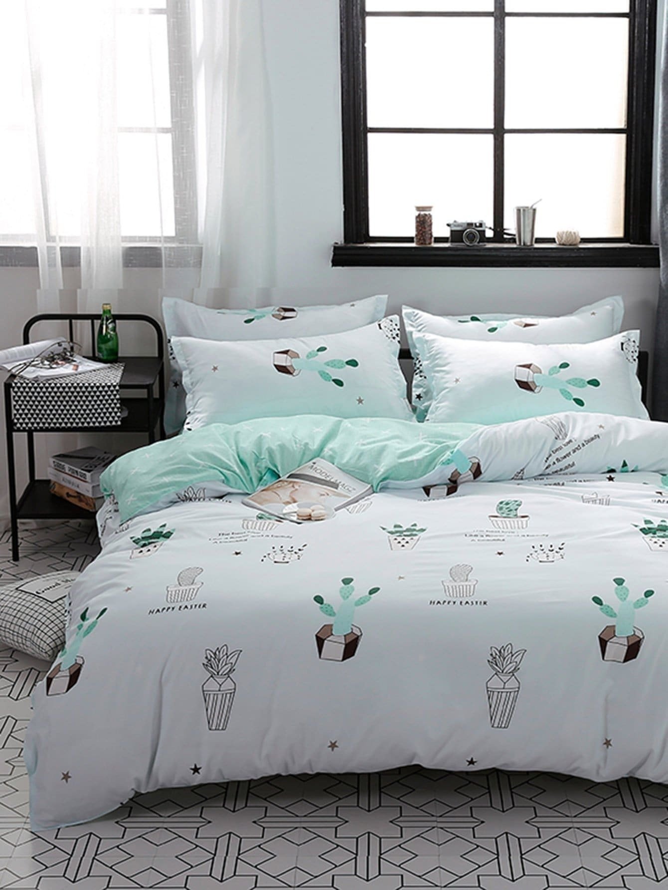 Allover Cactus Print Sheet Set allover star print sheet set