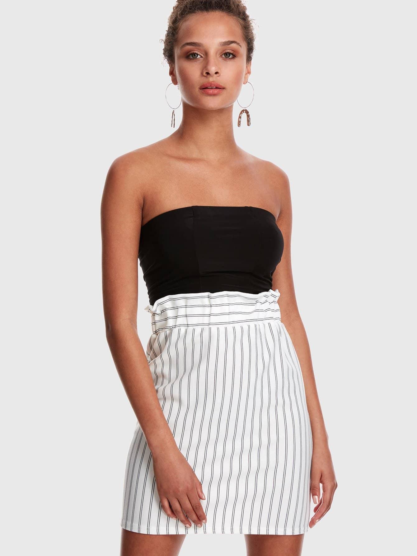 Wide Ruffle Waist Pinstripe Skirt self belted ruffle waist pinstripe skirt