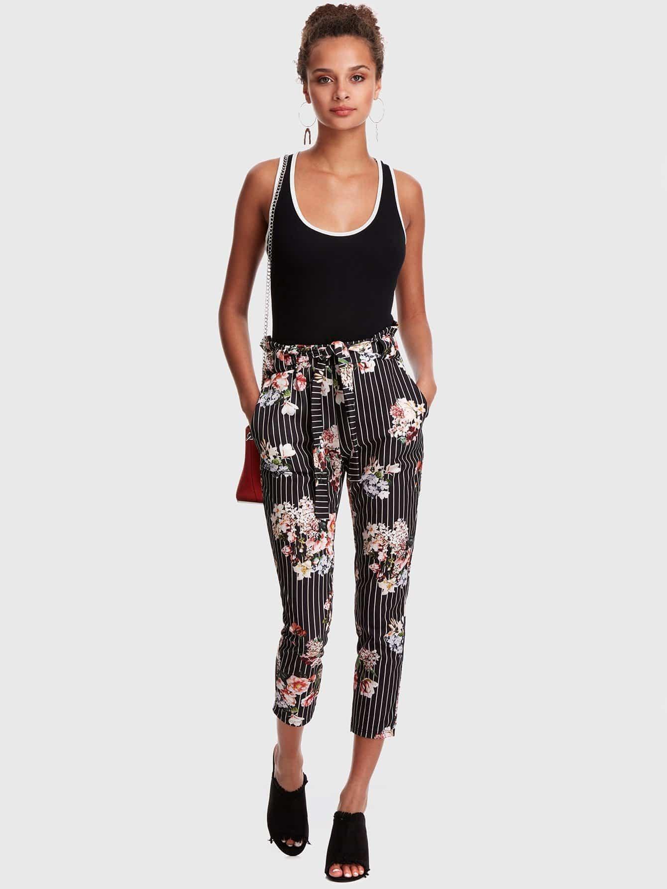 Купить Полосатый цветочный талии брюки талии, Ruby Muldoon, SheIn