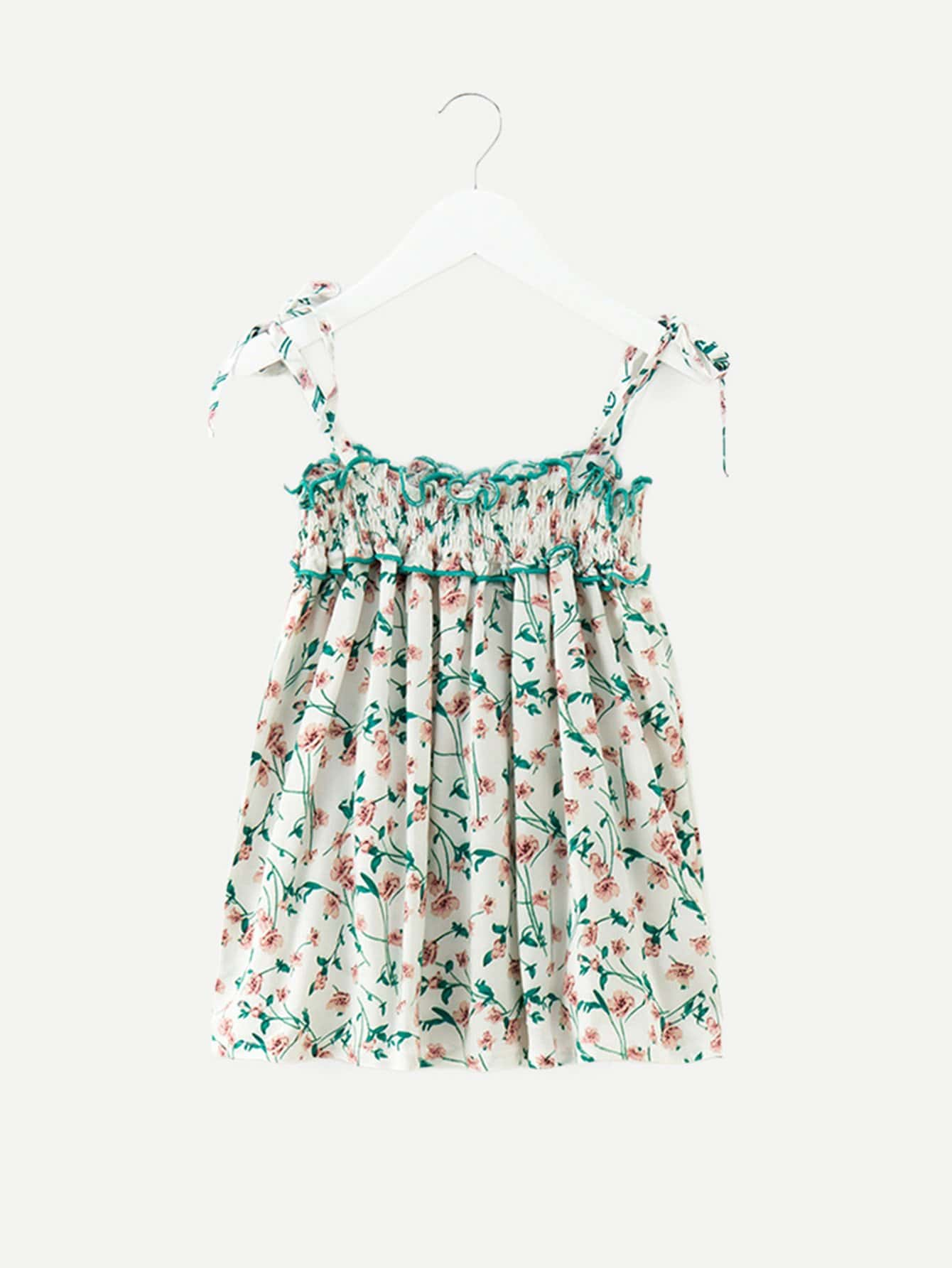 Kids Calico Print Frill Shirred Cami Dress calico print faux pearl detail cami dress