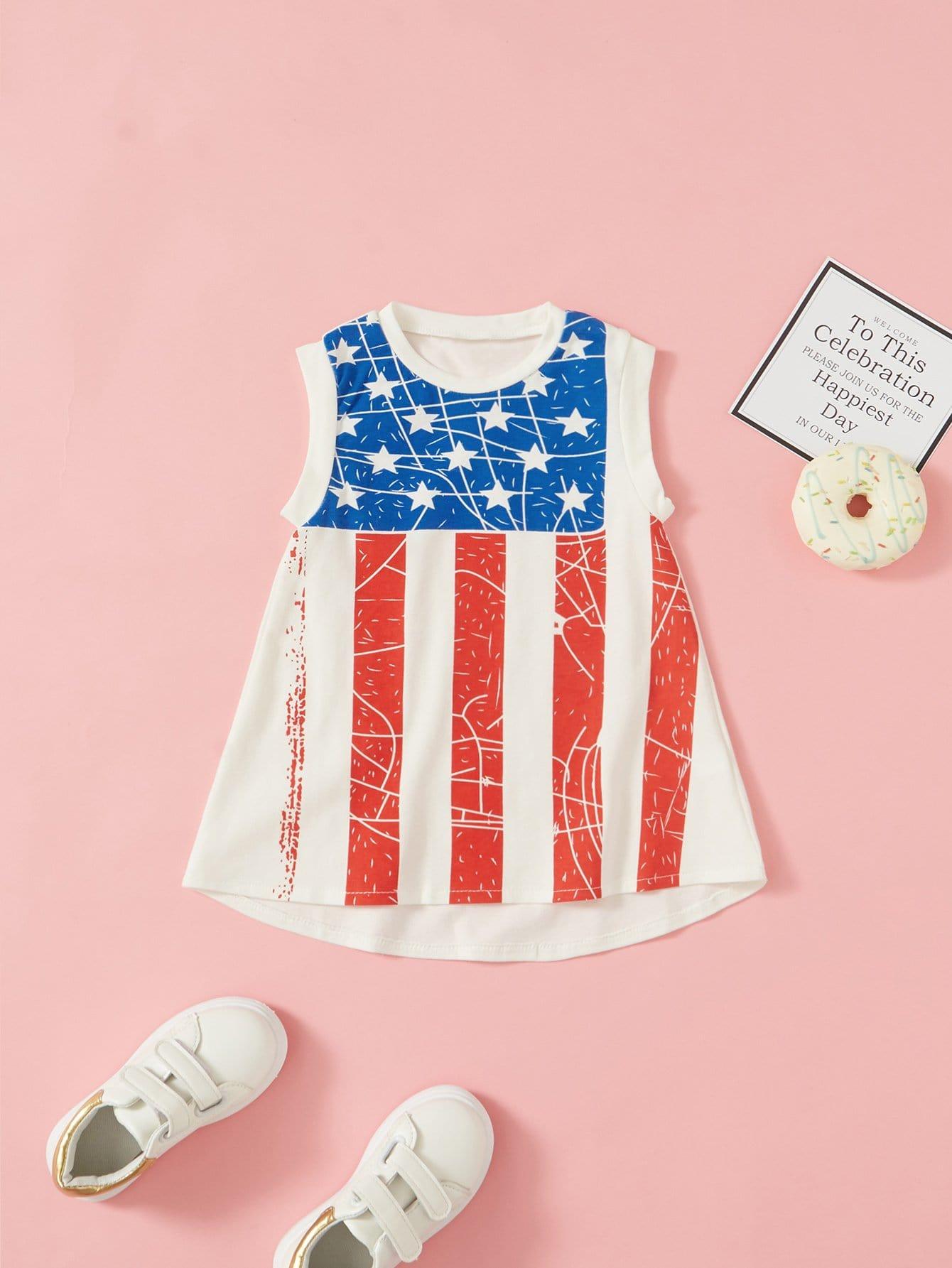 Kids Striped And Star Flag Print Vest Dress kids star and letter print striped blouse