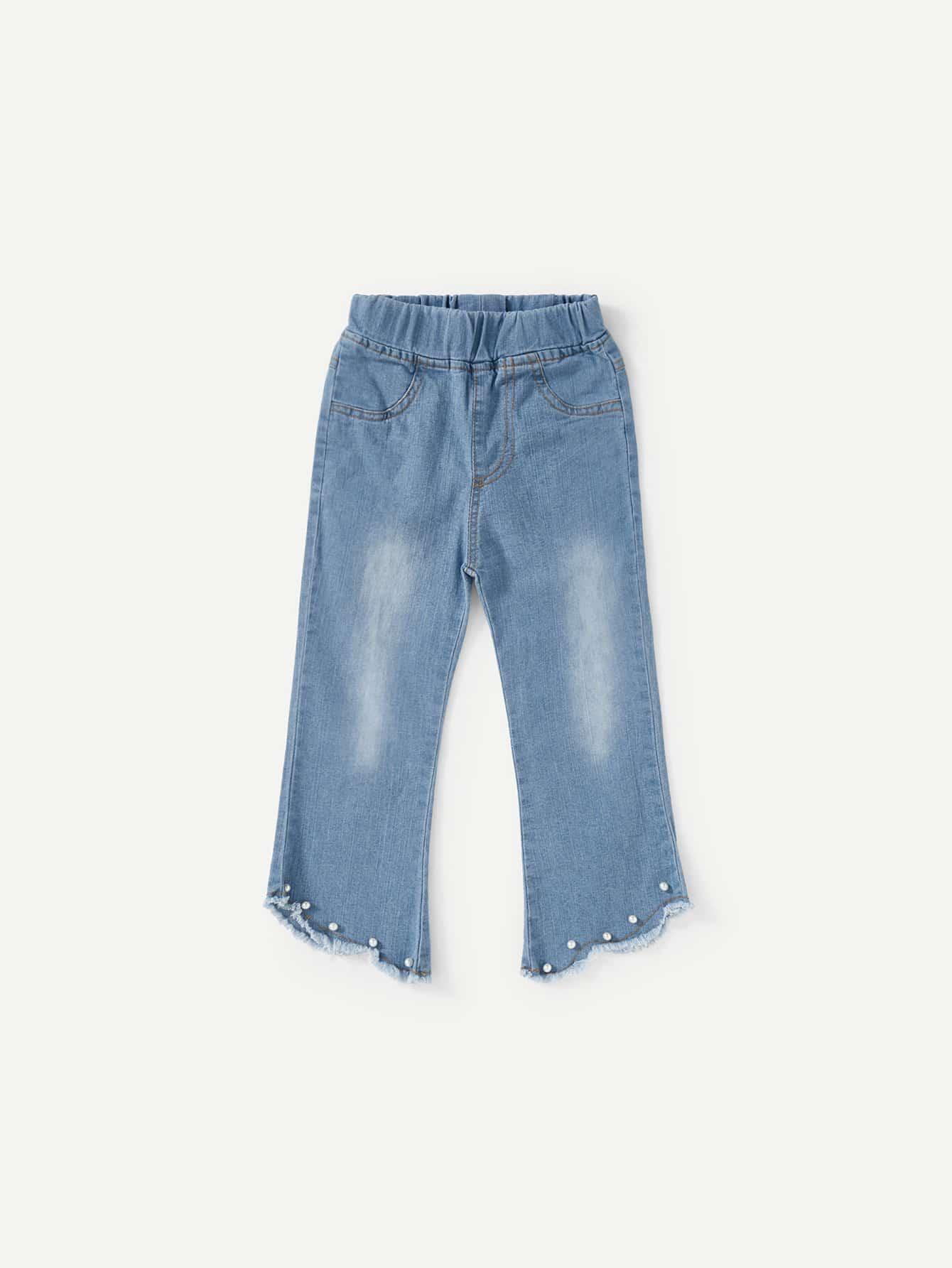 Kids Pearls Raw Hem Wash Jeans