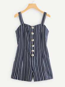 Single Breasted Striped Romper
