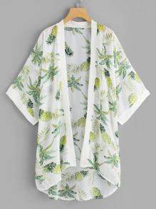 Pineapple Print Dip Hem Kimono