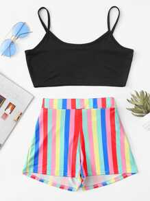 Cami Crop Top With Striped Shorts