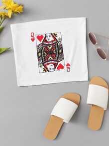 Poker Print Tube Top
