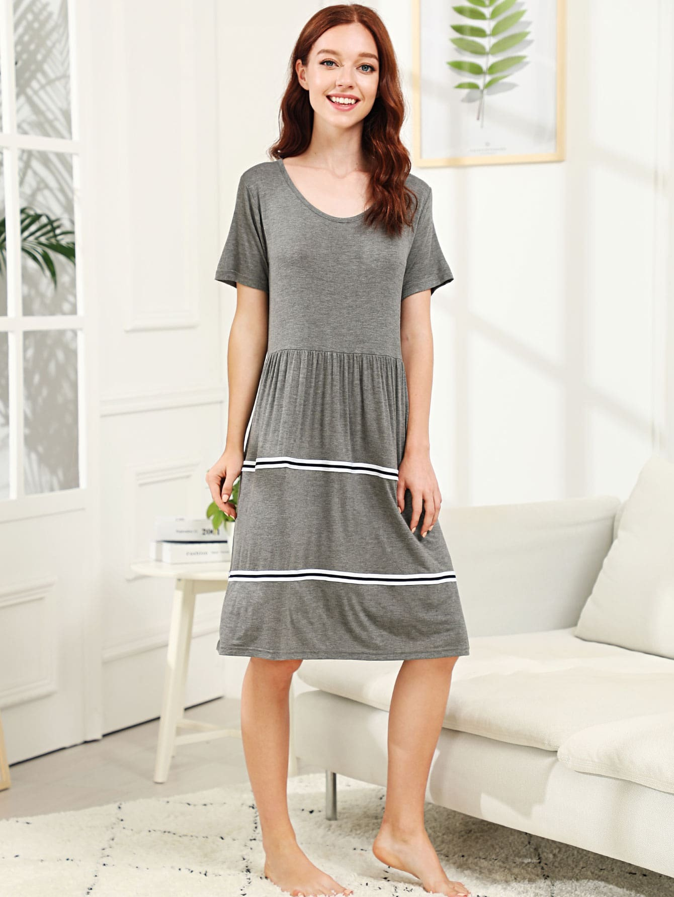 Pleated Striped Night Dress daisy embroidered striped night dress