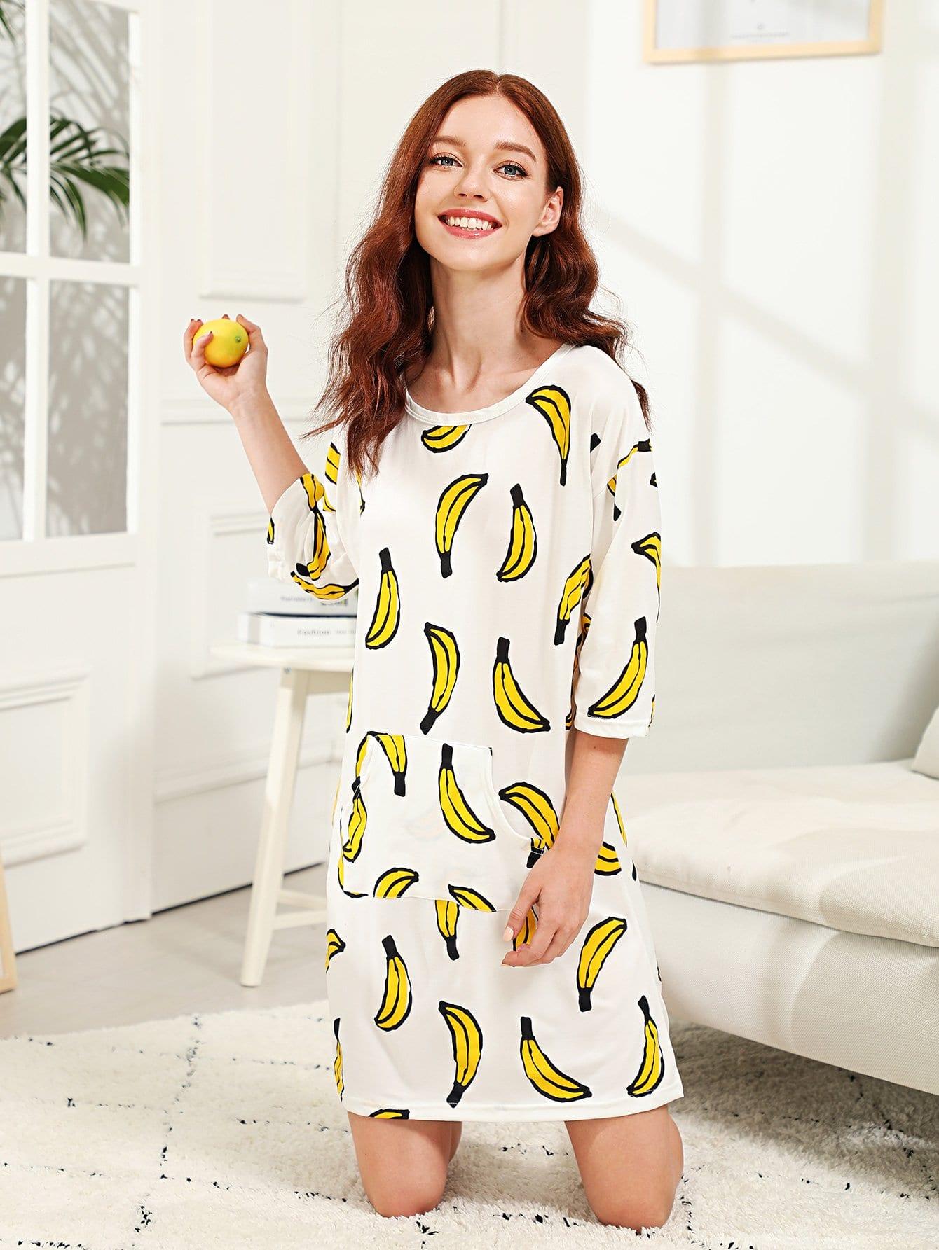Купить Ночное платье с принтом банана, Poly, SheIn