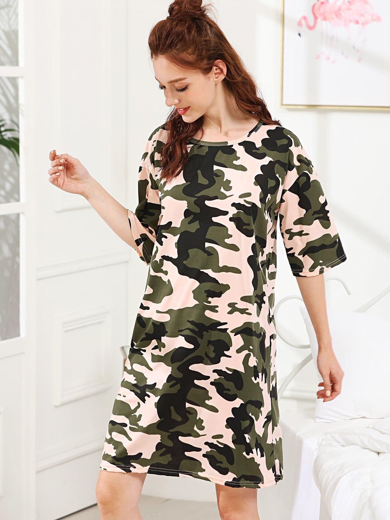 Camo Print Night Dress camo print night dress