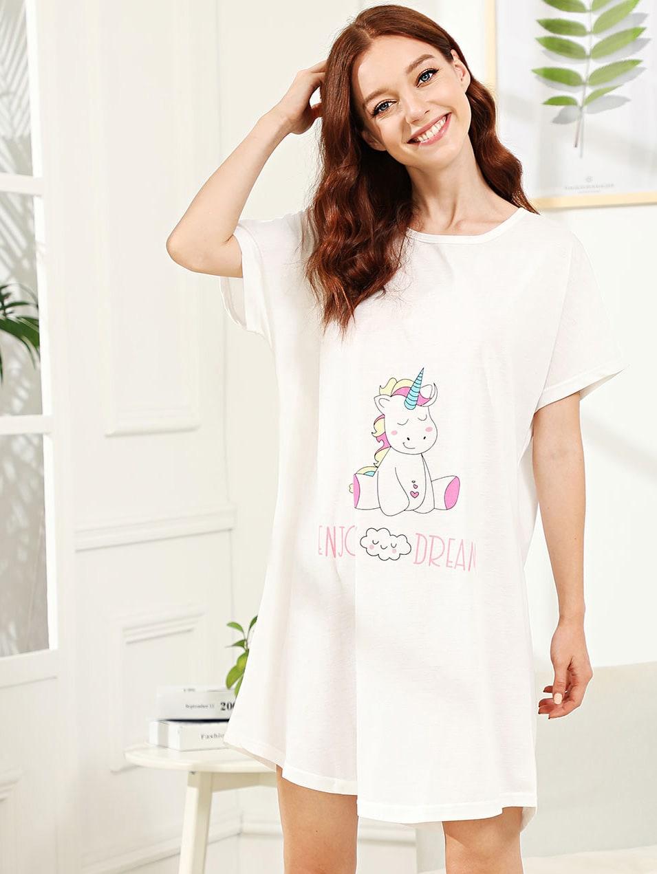 Купить Ночное платье с принтом единорог и облака, Poly, SheIn