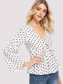 Knot Front Polka Dot Top