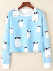 Cat Print Pullover