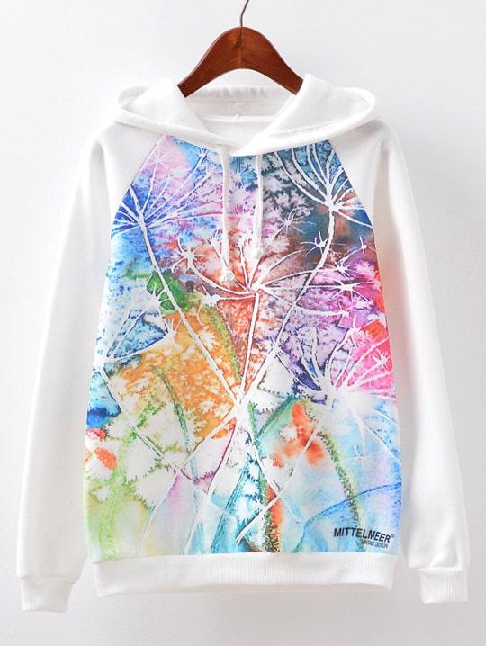 Raglan Sleeve Printed Hoodie tile printed drawstring raglan sleeve hoodie