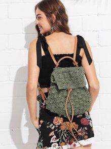 Drawstring Flap Backpack