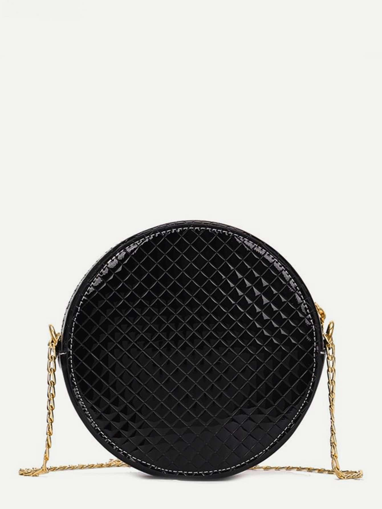 Quilted Round Chain Bag quilted metallic chain bag
