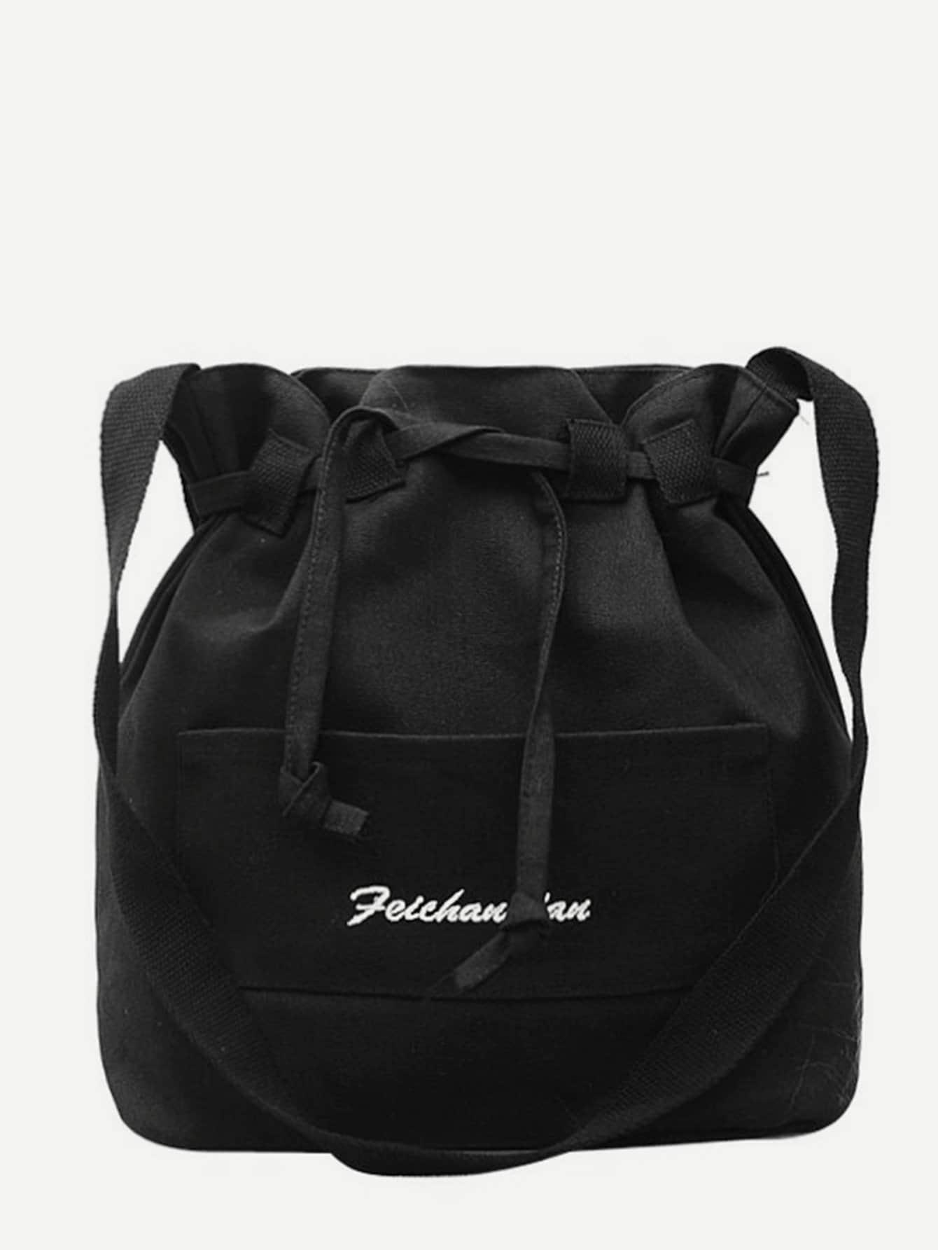Canvas Detail Bucket Bag tassel detail bucket bag
