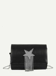 Star Detail Tassel Chain Bag