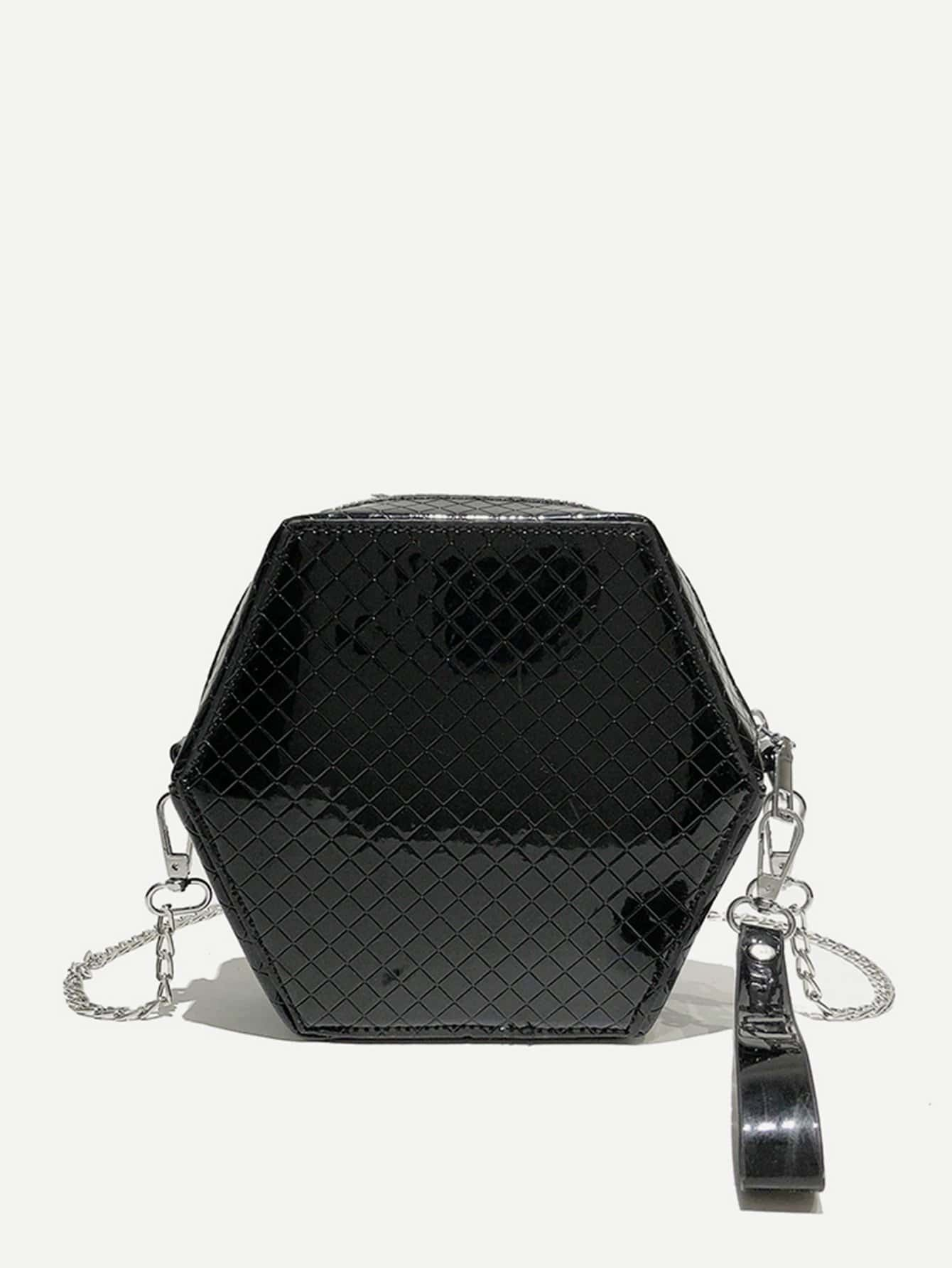 Quilted Hexagon Chain Bag quilted metallic chain bag