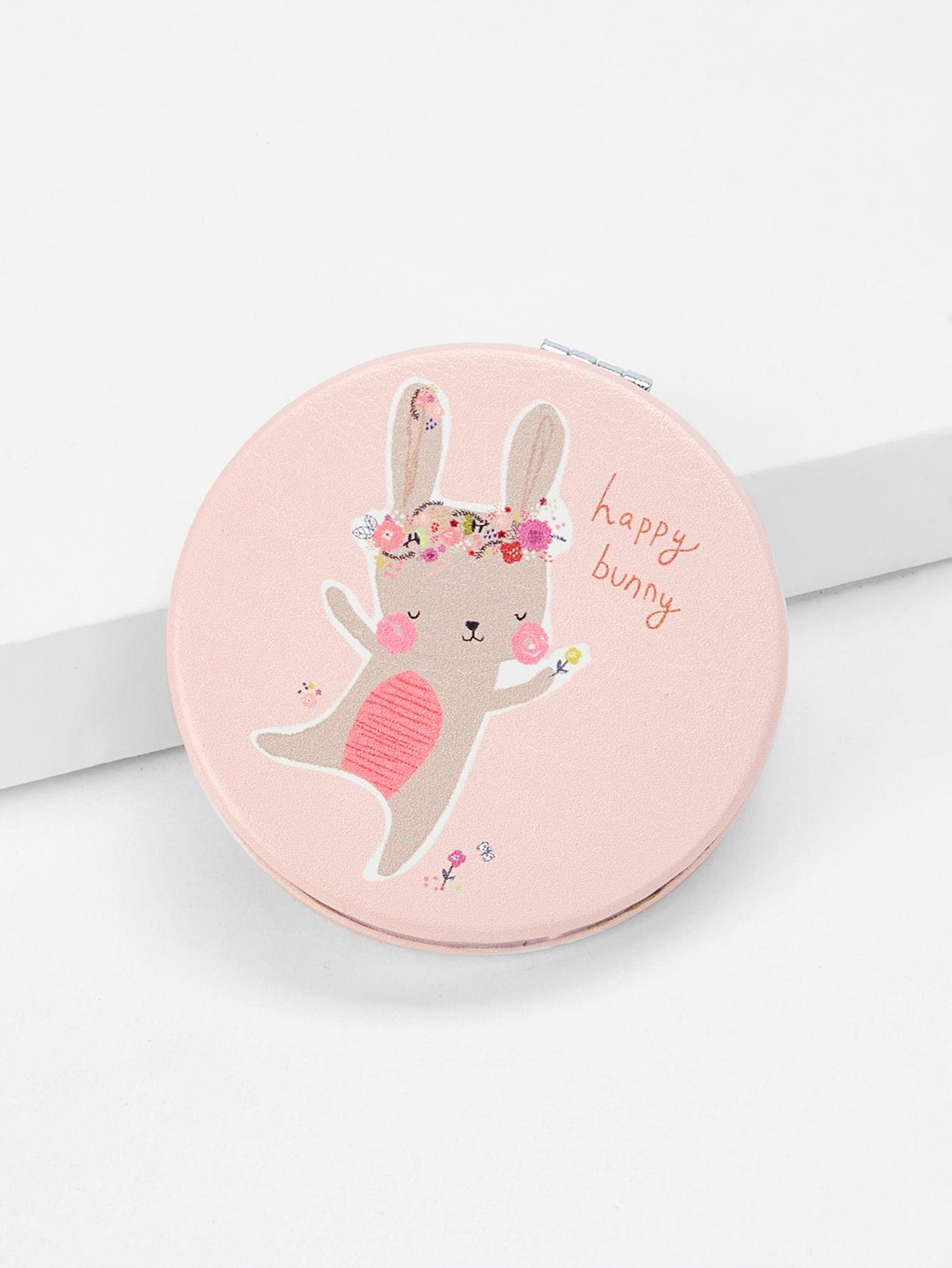 Rabbit Print Round Mirror rabbit print pullover