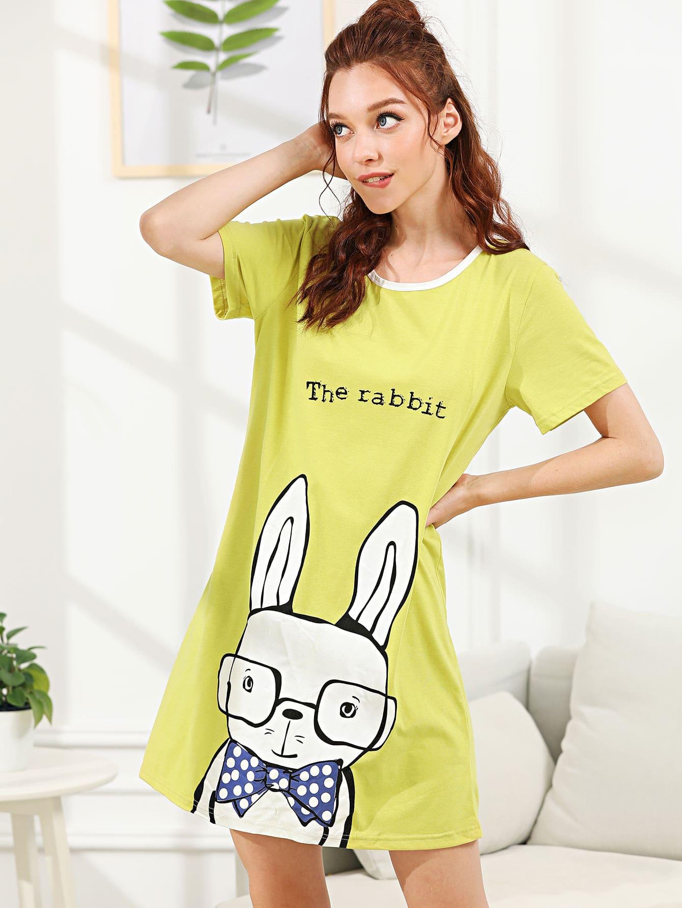 Rabbit Print Night Dress rabbit print pullover